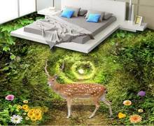 Beautiful green 3d flooring wallpaper-roll-size Forest deer self adhesive wallpaper 3d floor tiles photo wallpaper 3d flooring(China)