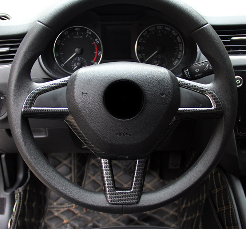 1pc for Skoda Octavia 2015 2018 Octavia wagon 2017 2018 Steering wheel decorate strip in Interior Mouldings from Automobiles Motorcycles