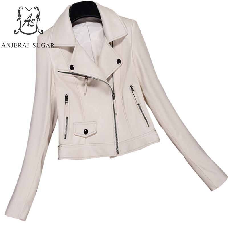 MOUTEN Womens Slim Motorcycle Lapel Casual Full Zip Faux Pu Jacket Coat