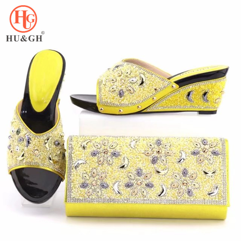 2018 lastest Yellow Party Shoe and Bag Set Decorated with Rhinestone High Quality Matching Italian Shoes and Bag Set for Wedding doershow italian shoes with matching bag high quality italy shoe and bag set for wedding and party purple free shipping hv1 59