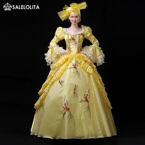 Распродажа, желтое женское платье Rococo викторианская красавица, платья 18-го века Марии-Антуанетты, костюм для реконструкции театра