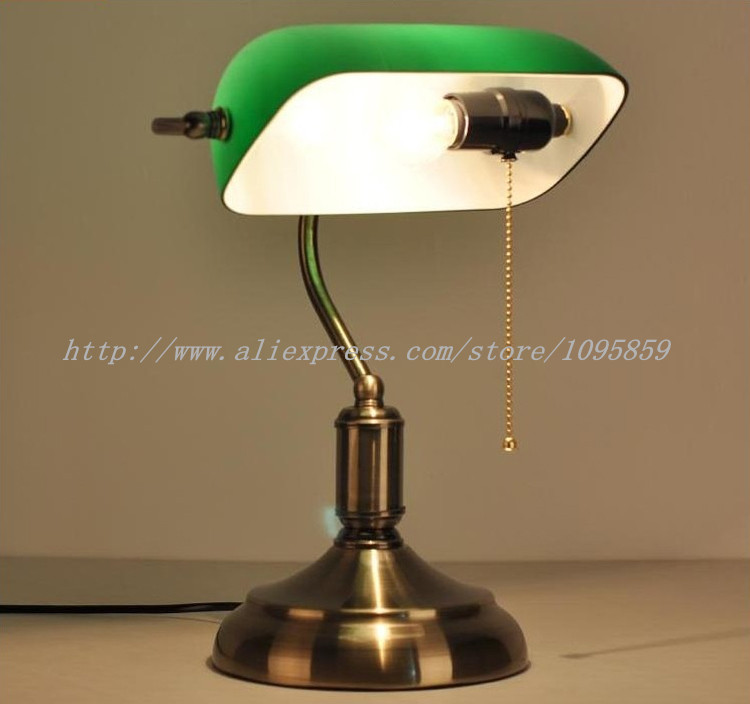 Retro Bank Table Lamp Green Glass Shade Bronze Metal
