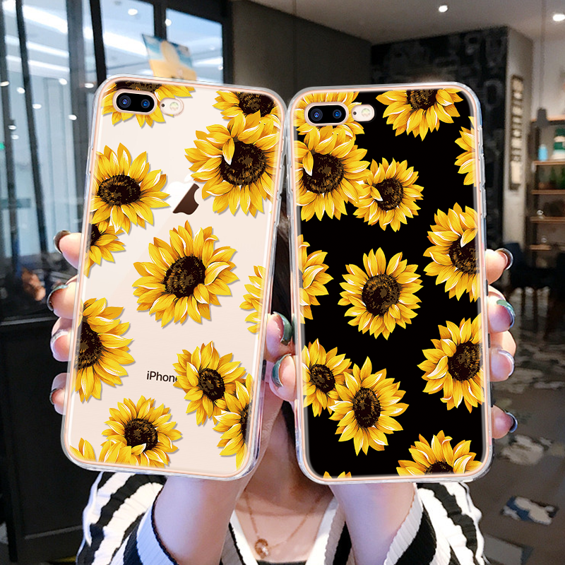 Daisy Sunflower Floral Fall Für <font><b>iPhone</b></font> <font><b>11</b></font> Pro Xs Max 6 6S TPU Abdeckung Für <font><b>iPhone</b></font> 7 Plus 8X4 4S 5 5S SE 5C XR TPU Silikon Coque image