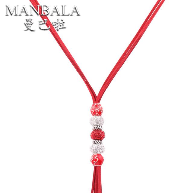 Accesorios de La Joyería Étnica MANBALA Bolas de Cristal Estilo Vintage Todo-Fósforo Suéter Cadena Collar Largo para Las Mujeres Bijoux 700BA