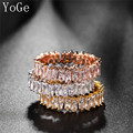 YoGe R0329  Fashion  AAA cubic zirconia  rectangle Baguette  ring ,shinning, copper base  thin band ring,best quality
