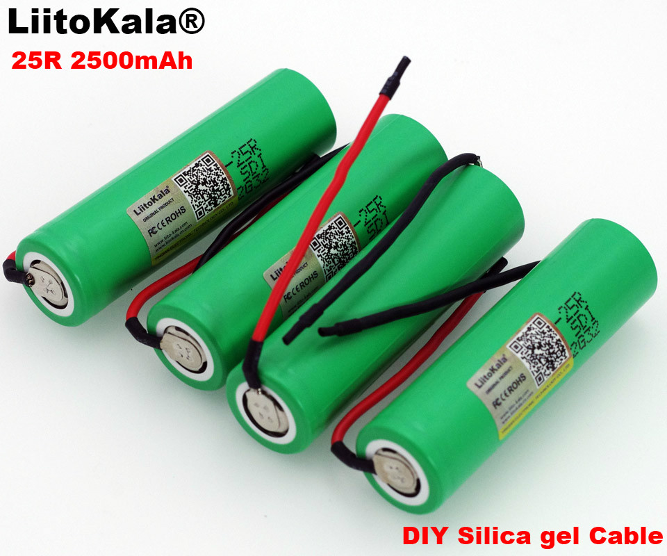 Liitokala New <font><b>18650</b></font> 2500 mAh Rechargeable Battery 3.6 V INR18650-25R 20A discharge + DIY Silica gel cable image