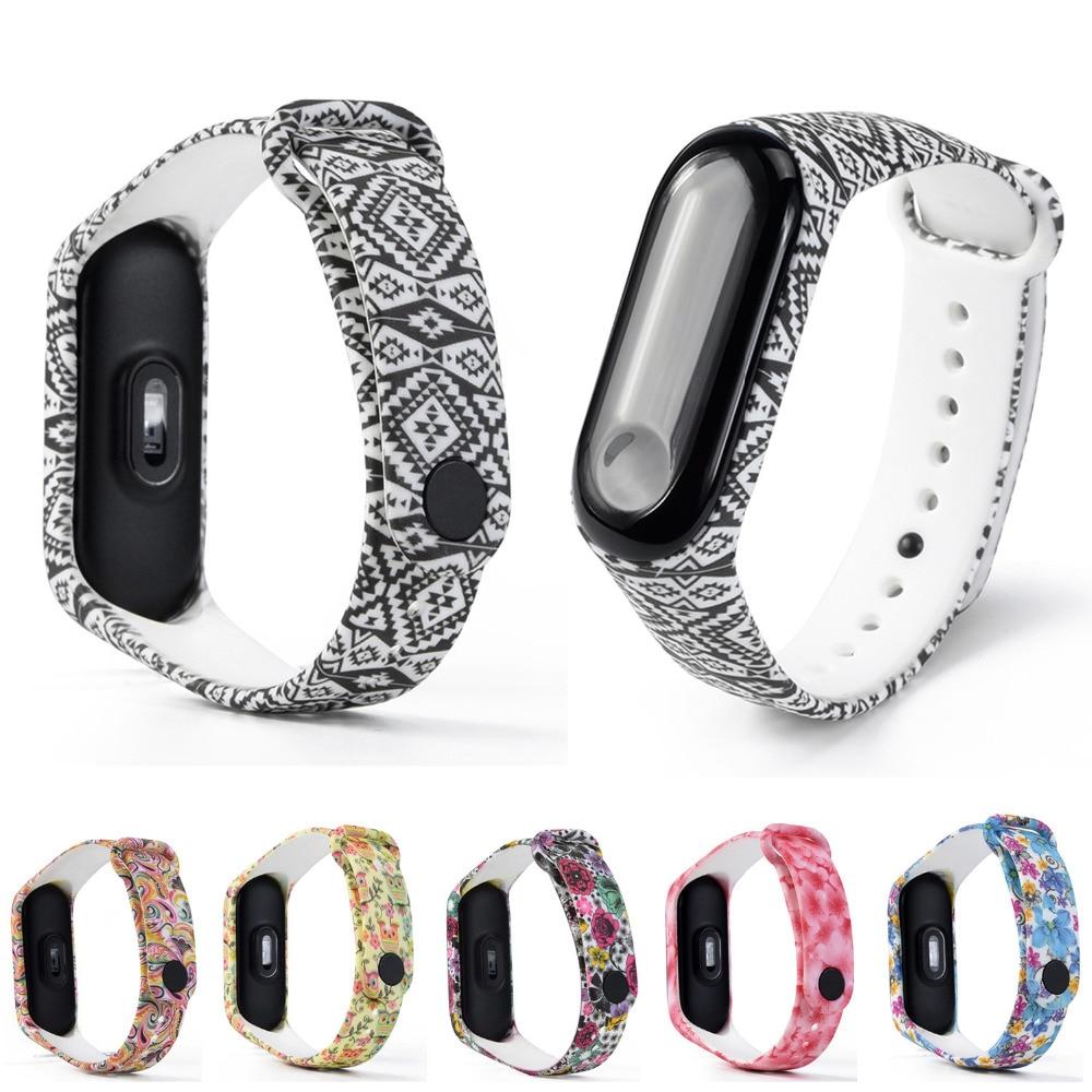 New Wristband Bracelet Band Strap Soft TPE Silicone Pattern TPU Smart Wrist Watch Strap for XiaoMi Mi Band 3 #15