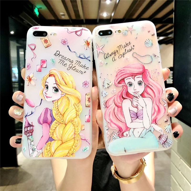 Long hair princess 3d relief case for iphone X 6 6s 6plus 7 7plus 8 8plus Ultra thin Scrub Silicone Case cover