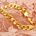 Bling bling mens bracelet  real yellow gold filled smooth cuban curb link chain bracelet high quality figaro chain