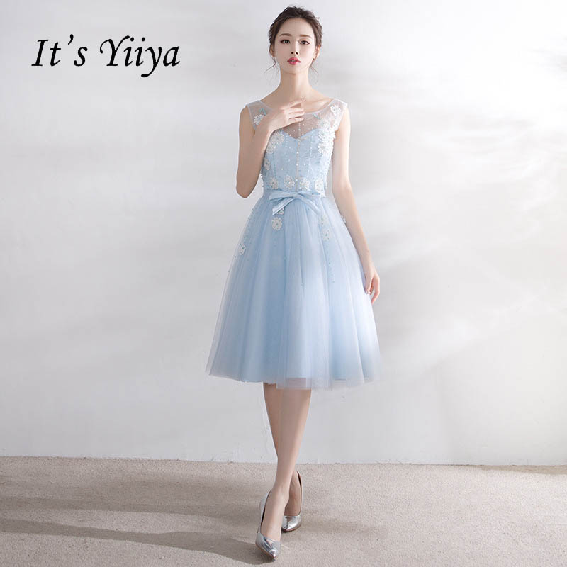 It's YiiYa New Light Blue Sleeveless Backless Lace Illusion   Cocktail     Dress   Knee Length Formal   Dress   Party Gown LX182