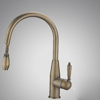 Antique Swivel Single Lever Pull Out Sprayer Brusahed Bronze Kitchen Sink Faucet Vintage Deck Mounted Solid Brass Mixer Tap