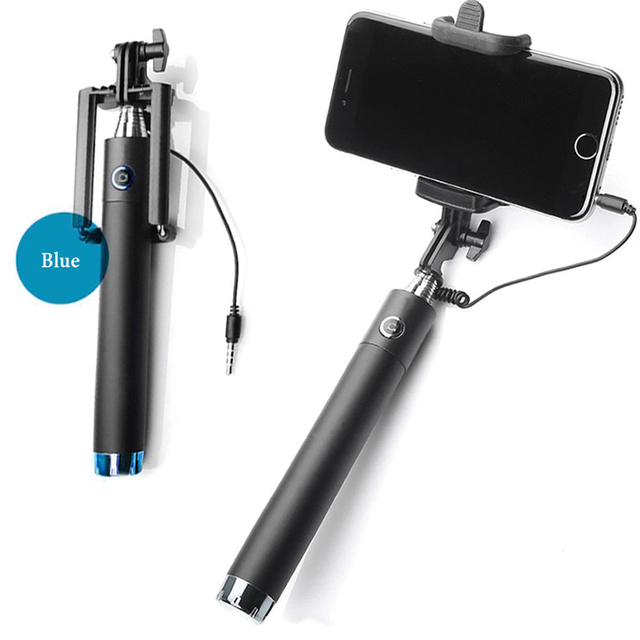 New Extendable Folding Wired Selfi Self Selfie Stick Monopod For Samsung Galaxy S5 Note3 iphone 6 5S Perche Selfies Selfiepod
