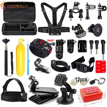 Accessories Kit for GoPro Hero 5 4 3+ 3 Session Accessory Bundle Set for Action Camera SJ4000 Xiaoyi-Flotation Handle+Head Strap gp k16 universal action camera accessory kit