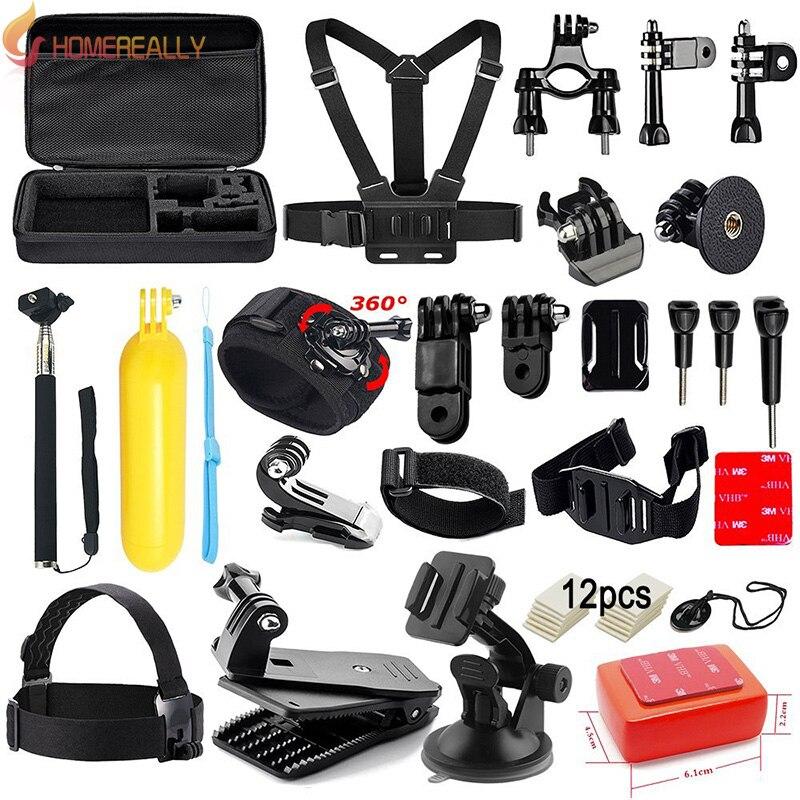 HOMEREALLY Kit d'accessoires pour GoPro Hero 5 4 3 + 3 ensemble de paquets de Session pour SJ4000 caméra d'action Xiaoyi poignée de flottaison sangle de tête