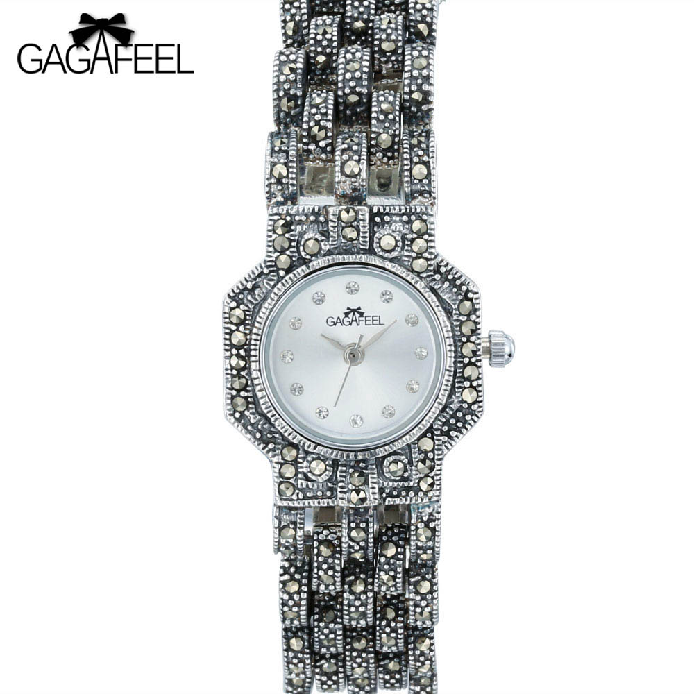 GAGGAFEEL 100% 925 Sterling Silver Watches Clock for Woman Women Antique Quartz Wristwatch Woman's Thail Silver Clock Hours стоимость
