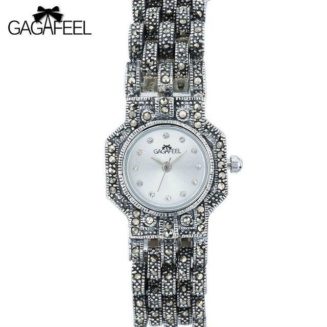 Gaggafeel 100% 925 стерлингового серебра Часы часы для женщина Для женщин под старину кварцевые наручные часы женские Thail серебряные часы