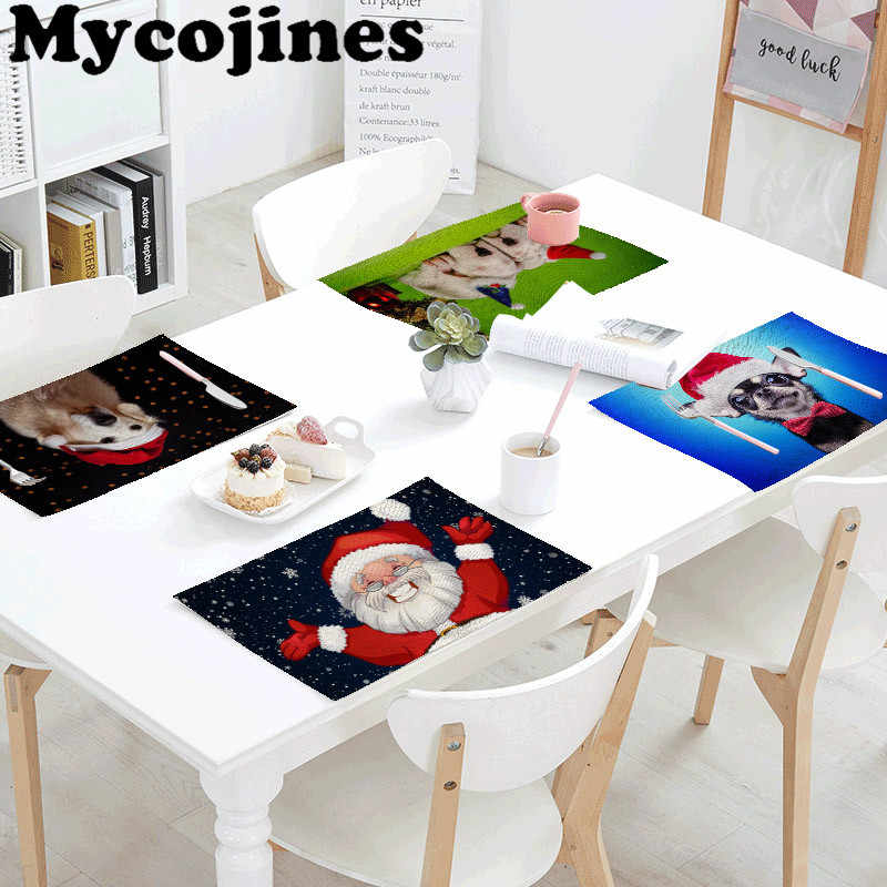 Gran oferta mantel Feliz Navidad Santa Claus perro gato restaurante sala de estar decoración servilleta boda regalo Lino tabla bandera