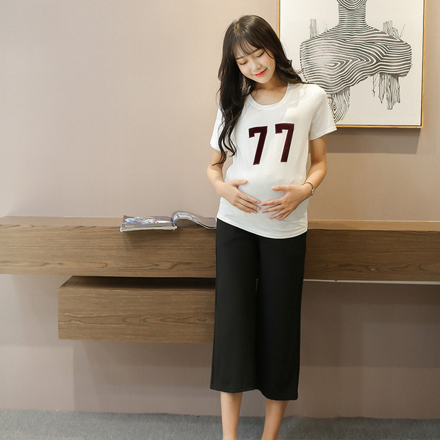 2016 Autumn Maternity Pants High Waist Black Casual Trousers Wide Leg Belly Palazzo Pants Plus Size Clothing for Pregnant Women