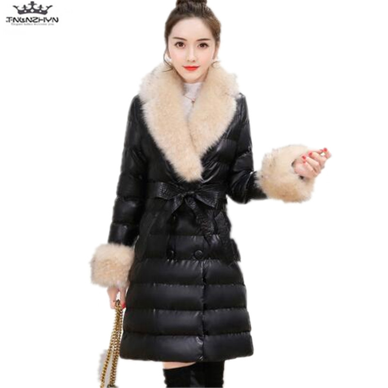 tnlnzhyn 2017 New Winter Women Leather Jacket Fashion Thick Large Fur Collar Down Cotton Leather Coats Slim PU Coats Y782 tnlnzhyn 2017 new winter pregnant women jacket thick fur collar hooded down cotton coat fashion warm maternity coats y626