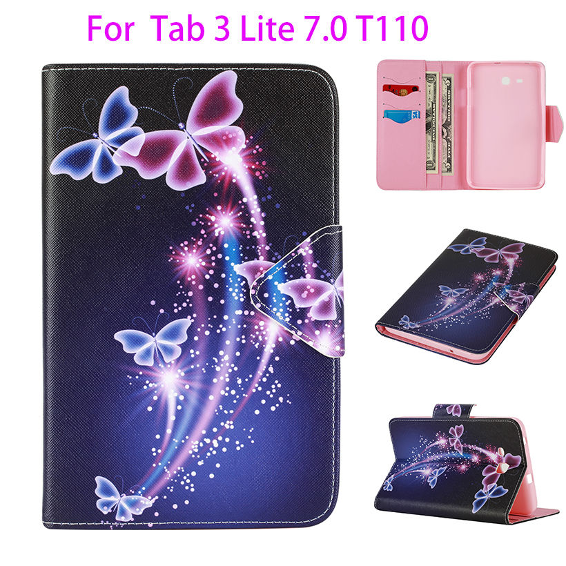 Fashion Painted Case For Samsung Galaxy Tab 3 Lite 7.0 T110 T111 T115 T116 Cover tablet Silicon Leather Card Slots Funda Shell 360 degree rotation pu leather smart case w card slot for samsung galaxy tab 3 lite t110 black