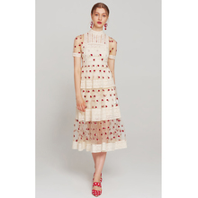 Длинное летнее платье, бежевое Сетчатое платье с вышитыми красными розами, летнее платье средней длины с круглым вырезом и коротким рукавом, вязаные крючком платья
