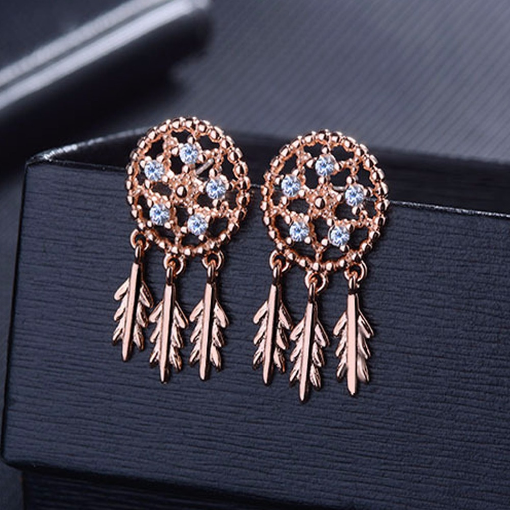 Showfay Crystal Jewelry 30 Plate Sliver Dreamcatcher Feather Earrings Stud Boho Rose Gold For Women Bijoux 2017 In From