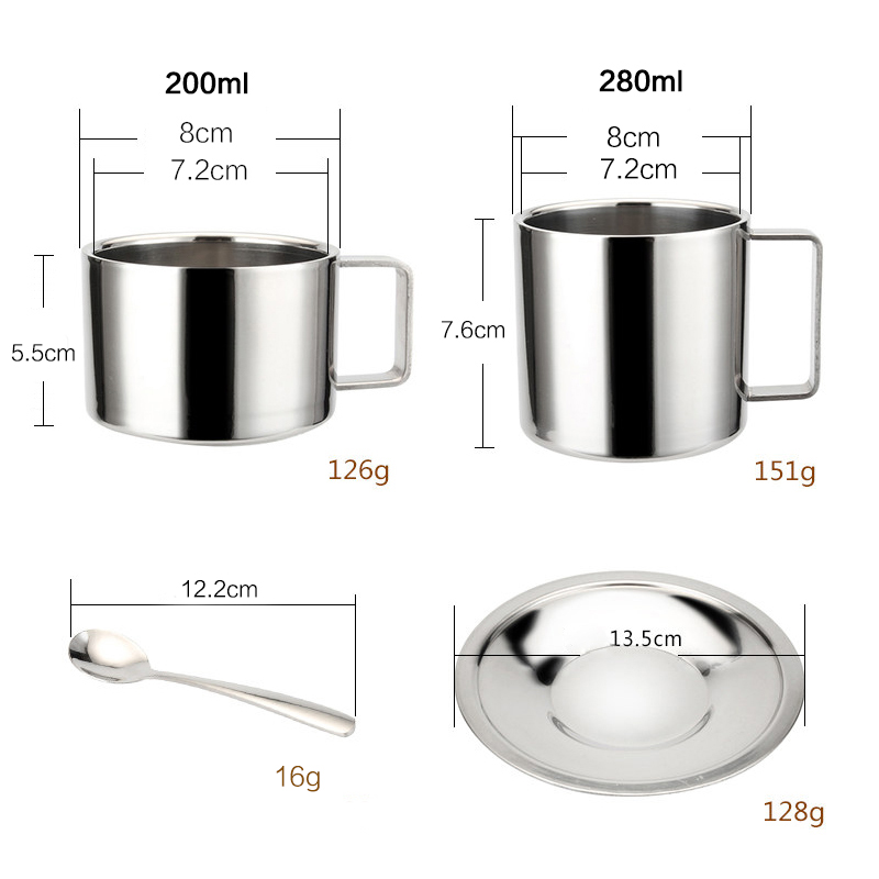 Stainless Steel Tea Coffee Mug Cups Double Wall Insulated Coffee Tea Cup with Saucer Spoon Set for Coffee Tea Milk Home Kitchen in Mugs from Home Garden