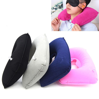 U Shaped Travel Pillow Inflatable Neck Car Head Rest Air Cushion for Travel Office Nap Head Rest Air Cushion Neck Pillow image