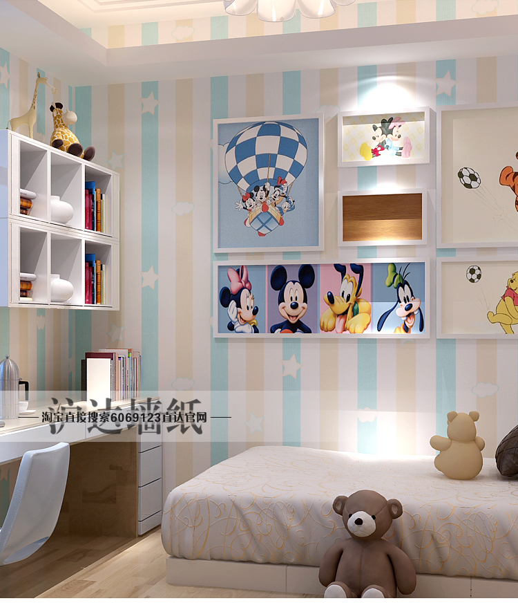 New Kids Room Princess Non Woven Wallpapers Blue Pink Vertical Striped Star Color Bedroom Boys Cartoon Wall Paper