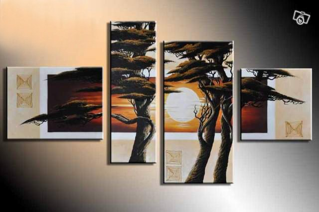 hand-painted Quiet Three big tree mountain home decoration abstract Landscape oil painting on canvas 4pcshand-painted Quiet Three big tree mountain home decoration abstract Landscape oil painting on canvas 4pcs