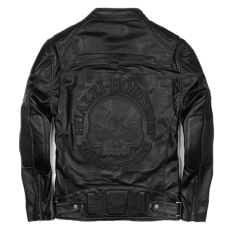 2018 Men Black Skull Leather Motorcycle Jacket Plus Size XXX Stand Collar Slim Leather Biker Coat Factory Direct FREE SHIPPING