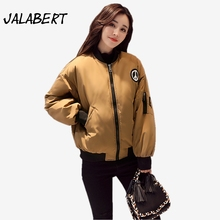Winter new women fashion stand thicker behind printing Loose letter cotton jacket Female badge pattern coats Parkas