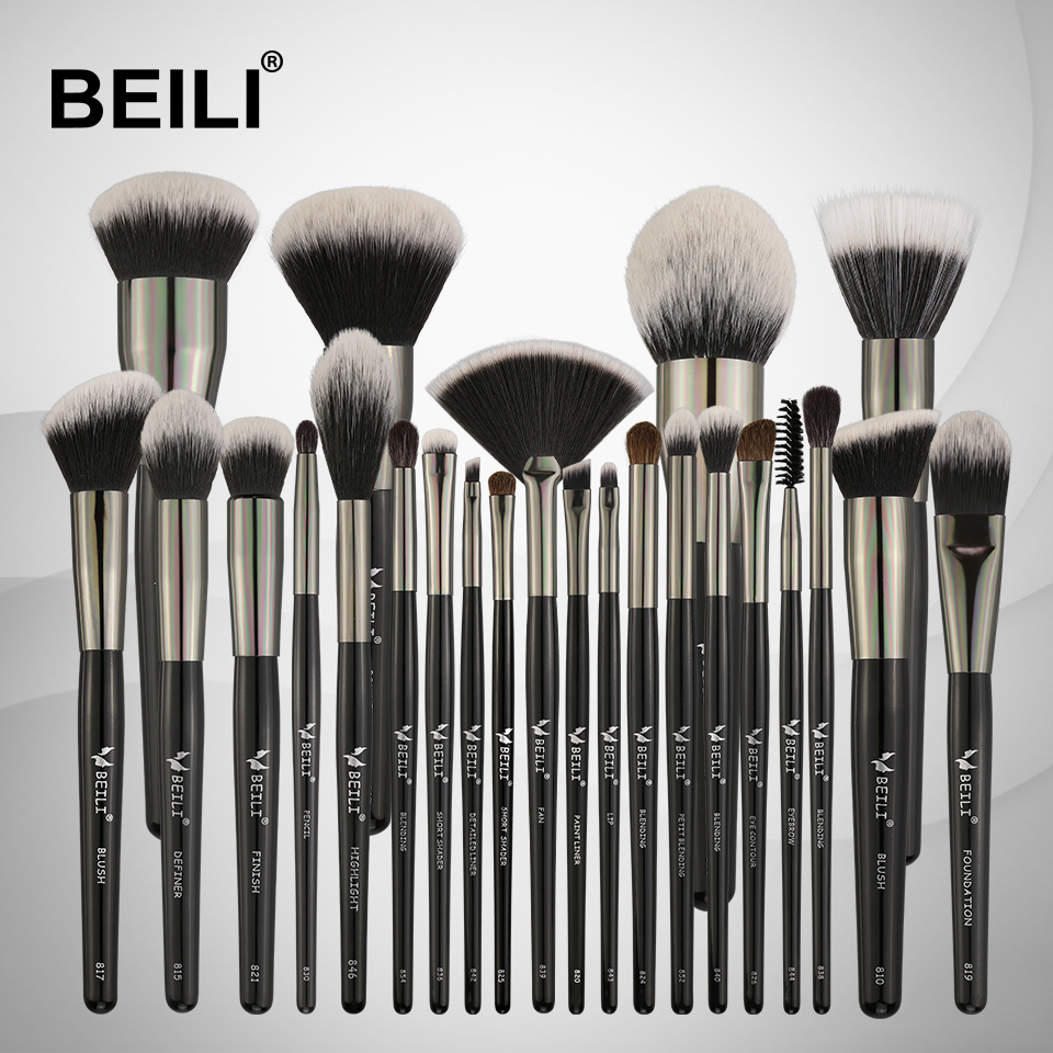 BEILI 25PCS Makeup Brushes Set Professional Soft Natural bristles Synthetic Hair Blending Eyebrow Eyeliner Concealer Foundation 11pcs make up foundation eyebrow eyeliner blush cosmetic concealer synthetic hair brushes orange makeup brushes set professional
