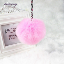 PF Bunny Pompon Keychain Punchy Fluffy Key Chains Baubles Pendant for Key Ring to Phone Purse Gift Bag Car Pompom Jewelry YS047