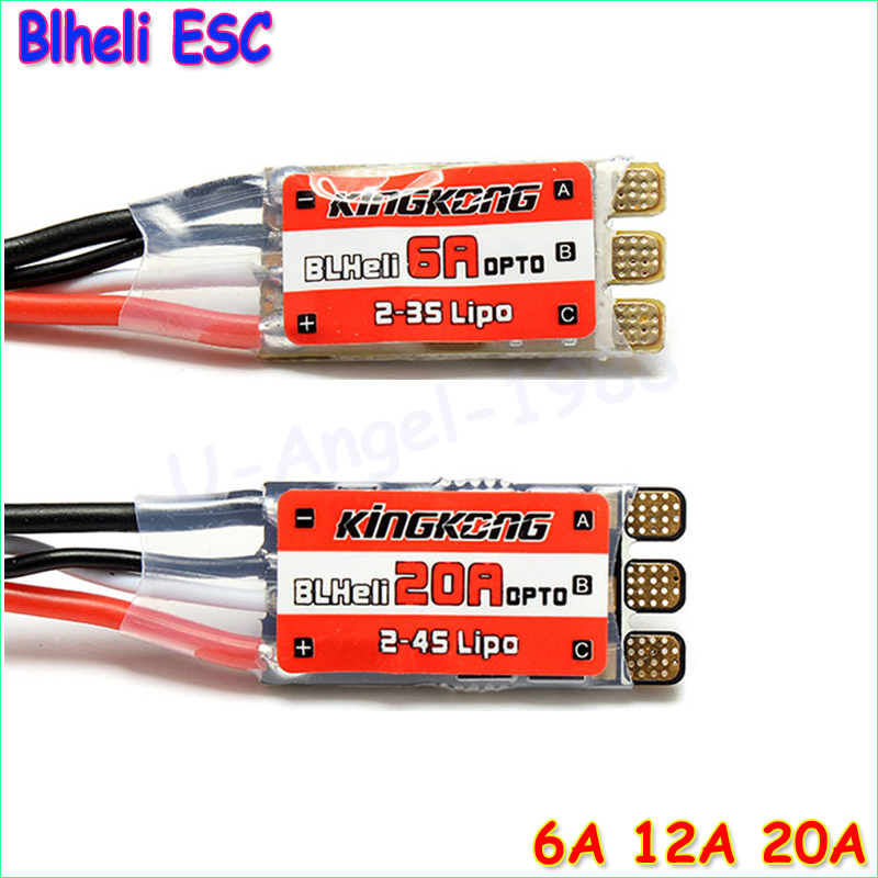 4pcs/lot KINGKONG BLHeli 6A 12A 20A Brushless High Speed ESC With OneShot125 For QAV250 FPV Multicopter Wholesale jmt kingkong blheli 12a esc brushless high speed controller esc support oneshot125 2 4s for fpv multicopter quadcopter