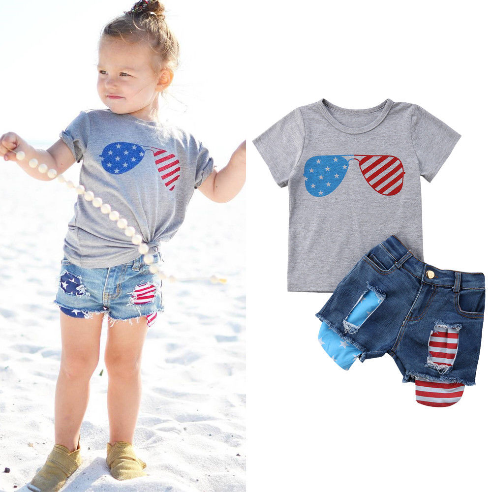 Kids Baby Little Girl 2Pcs Outfits Babies Girls Flag Stars ...