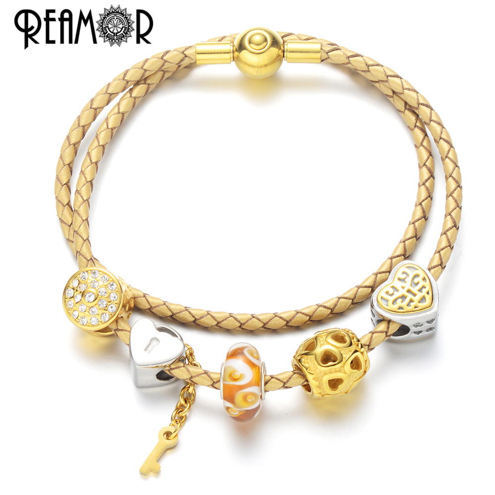 REAMOR Luxury Heart DIY Charm Bracelet Gold Love Key and Lock White CZ Beaded Charm Bracelet for Women Jewelry Christmas Gift