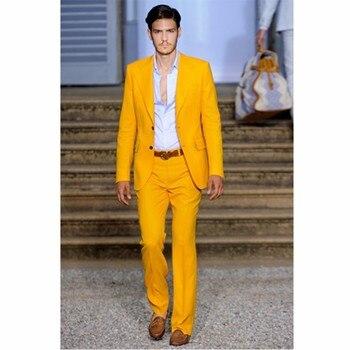 Custom Made Groomsmen mens suits Notch Lapel Groom Tuxedos Orange Men Suit 2017 Wedding Best Man (Jacket+Pants+Tie+Hankerchief)