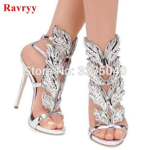 641536340bc9 Ravryy Summer Rhinestone Crystal Leaves Winged Women Sandals High Heels  Silver Gold Black Ankle Strap Shoes Woman