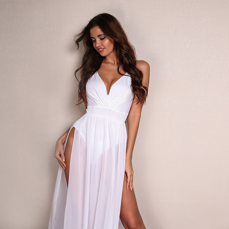 60c9e37501 Feditch Chiffon Beach Dress Hot Sale Boho Maxi Dress Sleeveless V Neck  White Party Desses Bodycon Women Sundress Vestido-in Dresses from Women's  Clothing on ...
