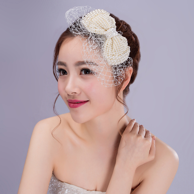 2016 New Vintage lace wedding bridal headdress hat head flower marriage gauze veil Hair accessories