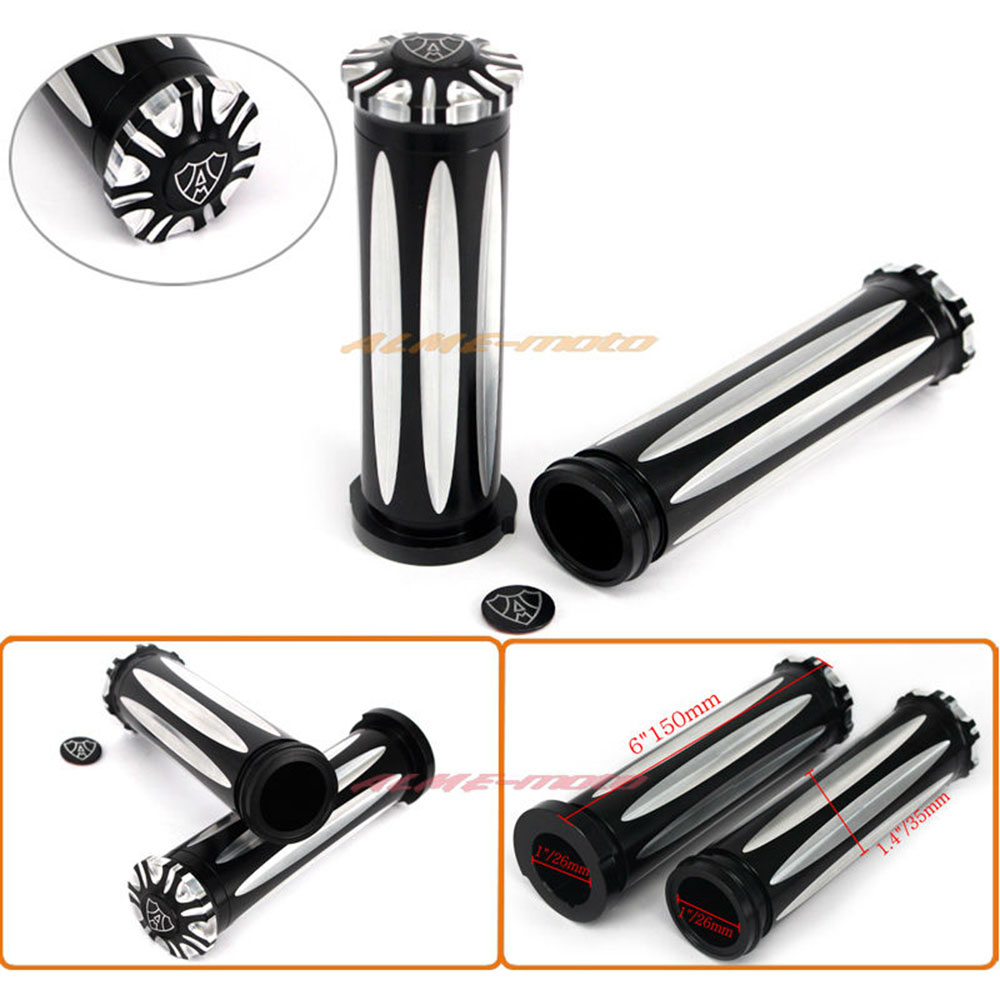 Motorcycle 1″ Aluminium CNC Edge Cut Handlebar Hand Grips For Harley Electronic Throttle by Wire Touring Tri-Glide 2008-2017