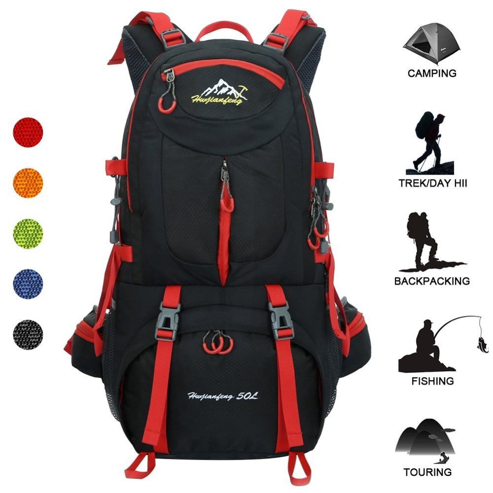 50L Outdoor Bag Men Camping Bag Waterproof women Hiking Backpack Travel equipment Sport Bag Climbing Rucksack Big Load mochila 2018 sports bag 8l camping travel backpack climbing mochila mountain hiking bike bicycle bag cycling running rucksack women men