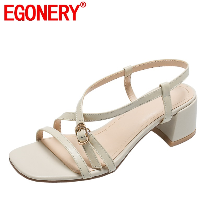 EGONERY woman shoes summer new fashion handmade genuine leather woman sandals outside mid heels buckle ladies shoes size 34-40EGONERY woman shoes summer new fashion handmade genuine leather woman sandals outside mid heels buckle ladies shoes size 34-40
