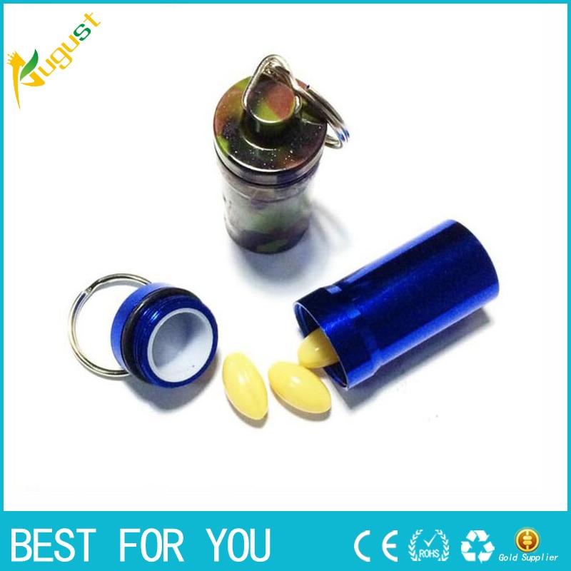 1pc Portable Stash Pill box case medicine Storage Keychain Bottle Keyring Key metal Aluminum Waterproof pill Bottle Container