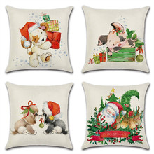 45x45cm Animal Dog Pig Pattern Chritmas Pillow Cover Linen Pillow Case Santa Claus Print Home Bedroom Office Chair Pillowcase недорого
