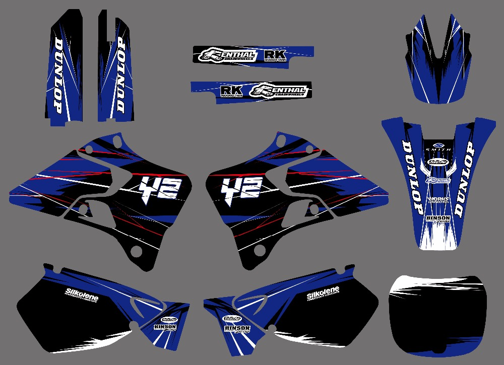 Team Graphics Backgrounds Decals Stickers Kit For Yamaha YZ125 YZ250 YZ 125  250 1996 - 2014 1997 1998 1999 2010 2011 2012 2013