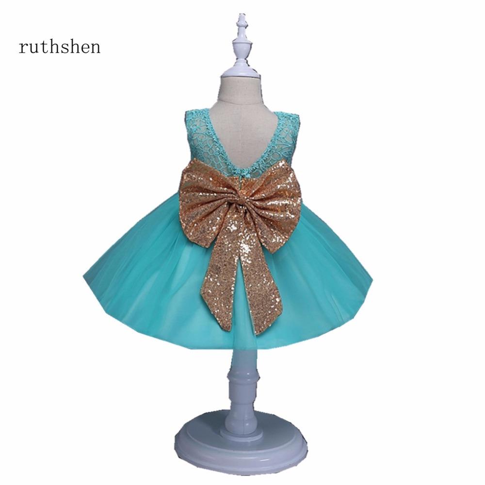 Princess Baby Blue White Pink Flower Girls Dresses For Weddings With Sequins Little Kids Ankle Length Ball Gowns Pageant Dress