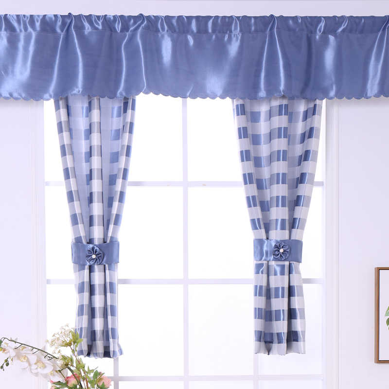blue kitchen valance cupboard knobs detail feedback questions about budloom white jacquard plaid short curtains for bedroom balcony window shading