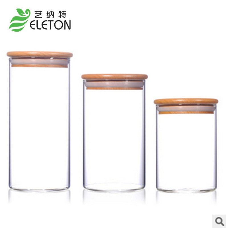 ELETONガラスジャーと蓋フードキャンディー収納ティーコンテナ缶詰シーリングヴィオレッタメイソンジャーキッチンアクセサリー